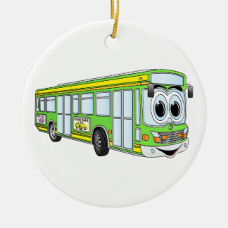 Green City Bus Cartoon Christmas Ornament