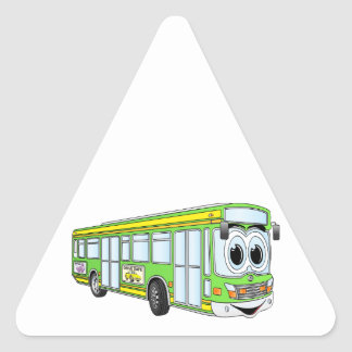 Green City Bus Cartoon Triangle Stickers