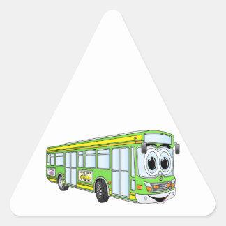 Green City Bus Cartoon Triangle Sticker