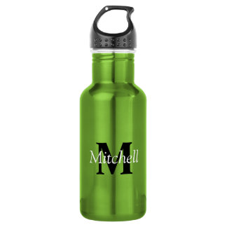Green Classic Black Monogram Name Personalized 532 Ml Water Bottle