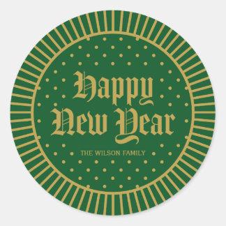 Green Classic Decorative Geometric Happy New Year Classic Round Sticker