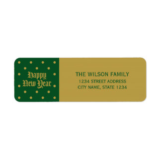 Green Classic Decorative Happy New Year Address Return Address Label
