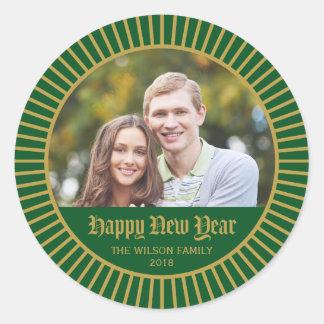 Green Classic Decorative Happy New Year Photo Classic Round Sticker