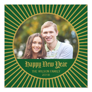 Green Classic Decorative Happy New Year Photo Magnetic Invitations