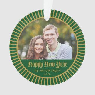 Green Classic Decorative Happy New Year Photo Ornament