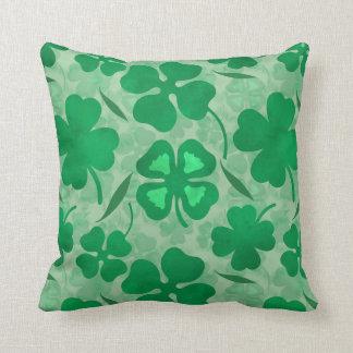 Green Clover Field, Four Leaf Clovers, Luck, Irish Cushion