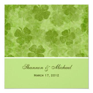 "Green Clover Irish Wedding Invitations 5.25"" Square Invitation Card"