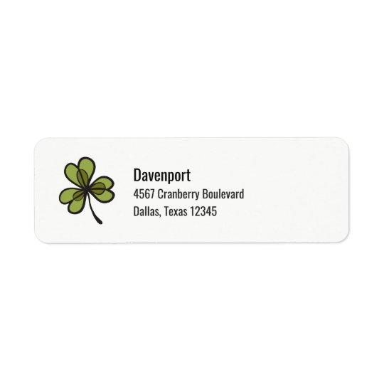 Green Clover Leaf Return Address Label