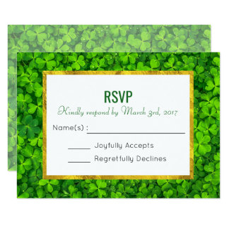 Green Clover Leaves with Faux Gold Foil RSVP Card