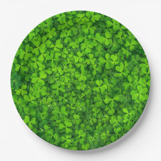 Green Clover Leaves with Water Drops 9 Inch Paper Plate