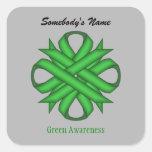 Green Clover Ribbon Square Sticker