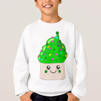 Green Clover St Patricks Day Cute Cupcake Sweatshirt