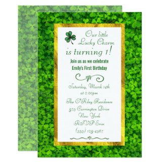Green Clover with FAUX Gold Foil 1st Birthday Card