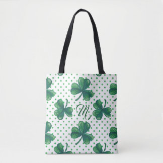 Green Clovers | Polka Dots Pattern Monogram Tote Bag
