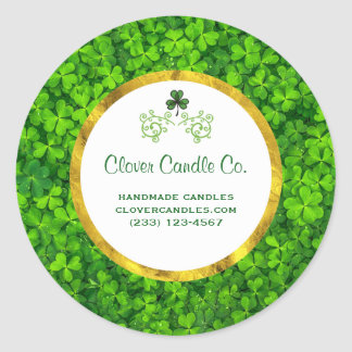 Green Clovers with FAUX Gold Foil Frame Business Round Sticker