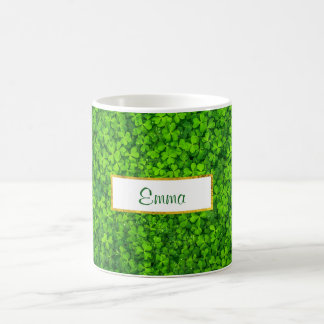Green Clovers with FAUX Gold Foil Frame Coffee Mug
