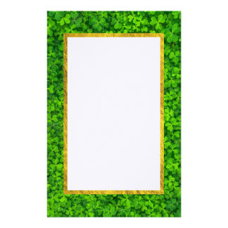 Green Clovers with FAUX Gold Foil Frame Customised Stationery