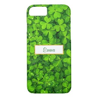 Green Clovers with FAUX Gold Foil Frame iPhone 7 Case