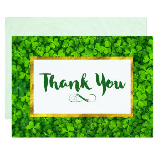 Green Clovers with FAUX Gold Foil Frame Thank You Card