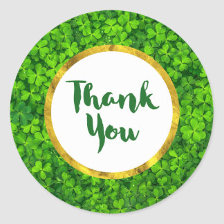 Green Clovers with FAUX Gold Foil Frame Thank You Round Sticker