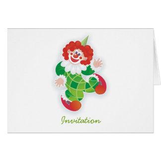 green clown greeting card