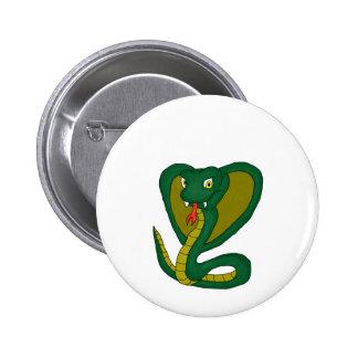 Green cobra 6 cm round badge