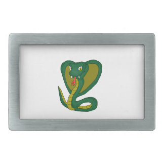 Green cobra rectangular belt buckle