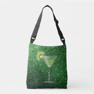 Green Cocktail w/Kiwi Faux Glitter Crossbody Bag