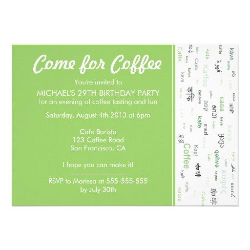Green Coffee tasting birthday party invitations
