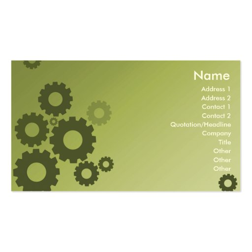 Green Cogs - Business Business Card Templates
