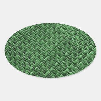 Green Colored Basket weave Pattern Oval Sticker