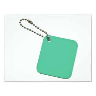 Green colored tag with chain custom announcements