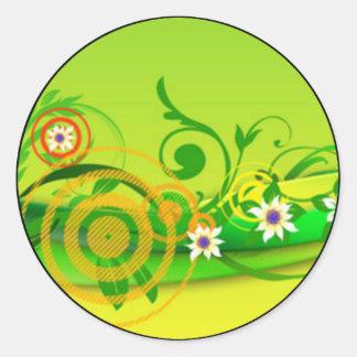 green colorful flower background round sticker