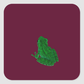 green colorized frong against burgundy sticker