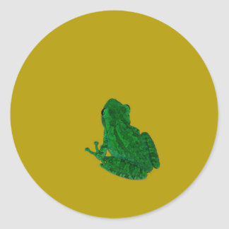 Green colorzed frog against yellow look up round sticker