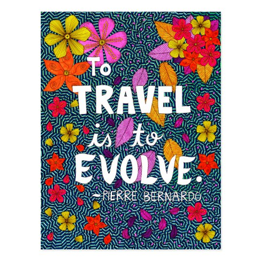 Green Colourful Flowers Typography Travel Quote Postcard