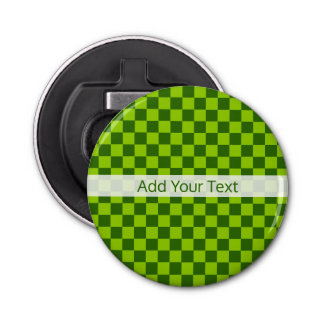Green Combination Classic Checkerboard by STaylor Bottle Opener