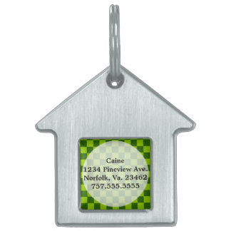 Green Combination Classic Checkerboard by STaylor Pet Name Tag
