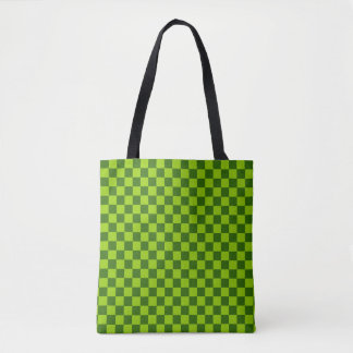 Green Combination Classic Checkerboard Tote Bag