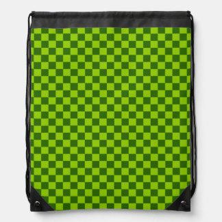 Green Combination Diamond-Checkerboard Drawstring Bag