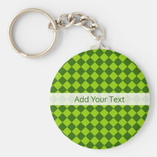 Green Combination Diamond Pattern by STaylor Basic Round Button Key Ring