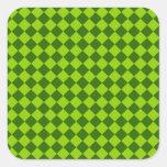 Green Combination Diamond Pattern Square Sticker