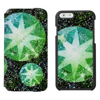 Green Compass Gemstone Rhinestone Gold Sparkle Incipio Watson™ iPhone 6 Wallet Case
