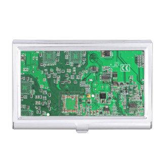 Green Computer Geek Circuit Board Business Card Holder