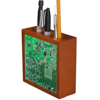 Green Computer Geek Circuit Board Desk Organiser