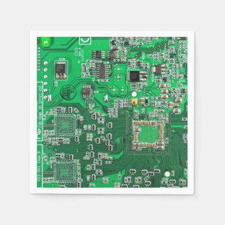 Green Computer Geek Circuit Board Disposable Napkin