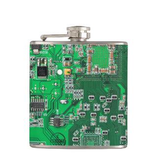 Green Computer Geek Circuit Board Hip Flask