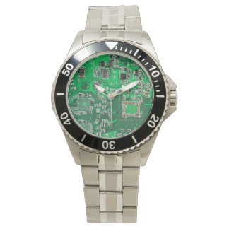 Green Computer Geek Circuit Board Watch