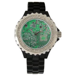 Green Computer Geek Circuit Board Watch