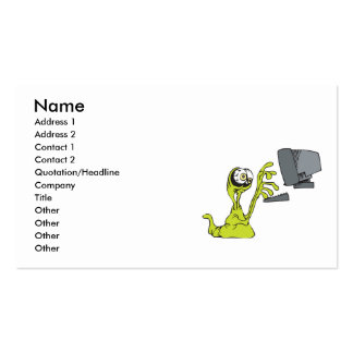 green computer typing alien monster blob business cards